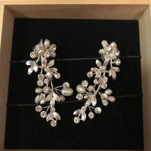 Pearl and flower earrings